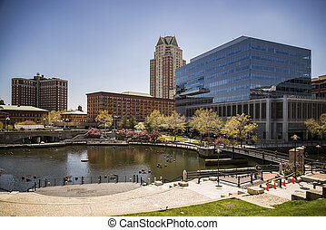 Providence, Rhode Island. City skyline in New England region...