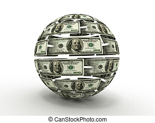 Sphere from dollar on white isolated background. 3d - Sphere...