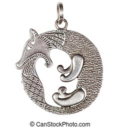 silver pendant - fox biting its tail - hand made stylized...