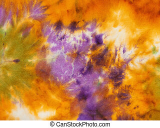orange and violet abstract nodular batik - hand painted...