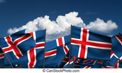 Waving Icelandic Flags (seamless & alpha channel)