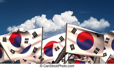 Waving South Korean Flags (seamless & alpha channel)
