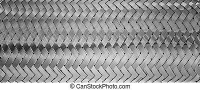 weaving of metallic threads - Black and white background of...