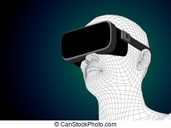 futuristic human head wearing vr headset for augmented...