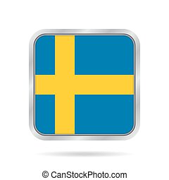 Flag of Sweden. Shiny metallic gray square button.