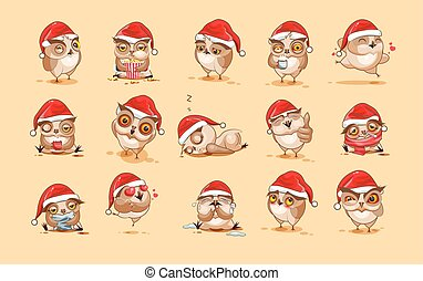 Illustrations isolated Emoji character cartoon owl stickers emoticons with different emotions