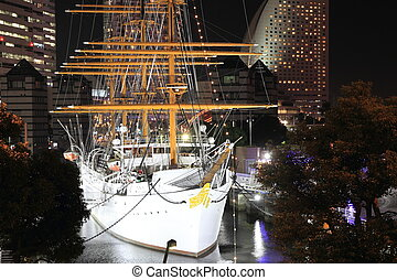 Nippon maru, sailing ship in yokohama, Japan (night scene)
