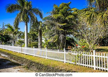 White Picket fence at Cortez FL - White picket fencing...
