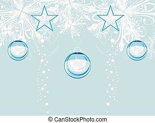 Christmas tinsel on the light blue background.