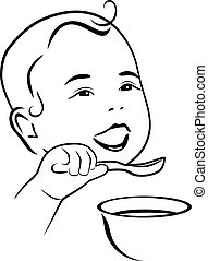 Baby learns to eat with a spoon. Contour drawing. Vector...