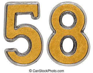 Metal numeral 58, fifty-eight, isolated on white background