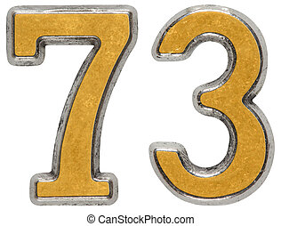 Metal numeral 73, seventy-three, isolated on white...