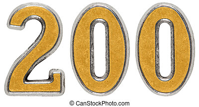 Metal numeral 200, two hundred, isolated on white background