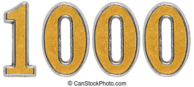Metal numeral 1000, one thousand, isolated on white background