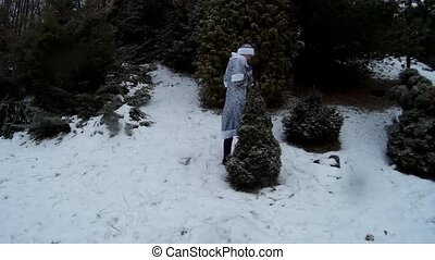 Snow Maiden in forest puts presents toys under a firm pine tree smiling Ukraine