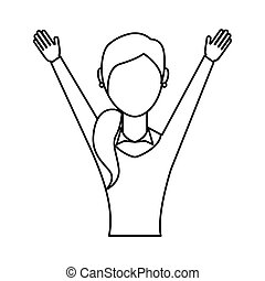 businesswoman avatar with hands up vector illustration...