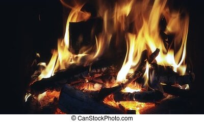 Fire with wooden logs burning - Beautiful fire with wooden...