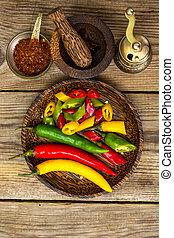 coloridos, mistura, pimentas, pimentão, fresco, quente