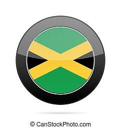 Flag of Jamaica. Shiny black round button.