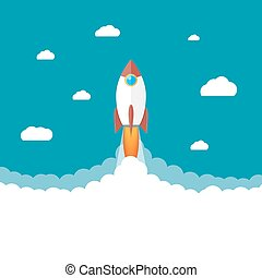 Rocket in the clouds. Start up concept.