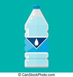 plastic bottle of pure water. vector illustration in flat...