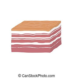 Smoked piece of lard. bacon. Vector illustration in flat...