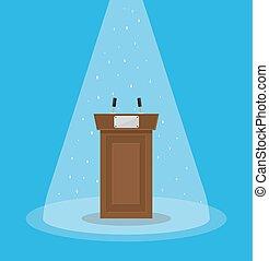 Brown wooden podium tribune rostrum