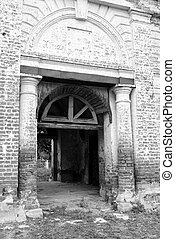 Gate of destroyed church.