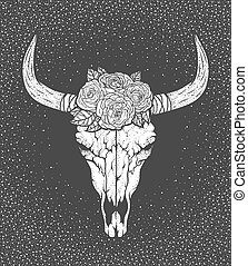 Bull skull with roses native Americans tribal style. Tattoo...