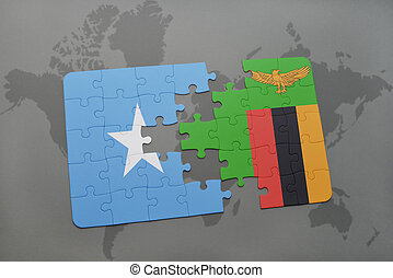 puzzle with the national flag of somalia and zambia on a...