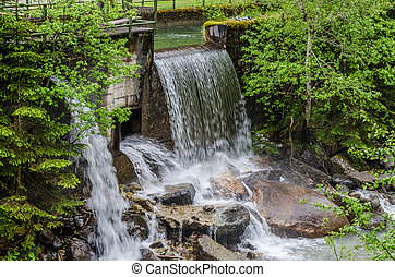 sluice at the creek in nature