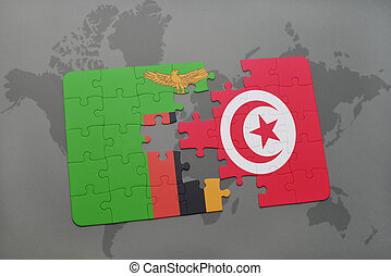puzzle with the national flag of zambia and tunisia on a...