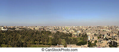 Cityscape of Cairo in 2005 from the Pyramid of Giza, Egypt