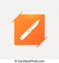 Knife sign icon. Edged weapons symbol. Stab or cut. Hunting...