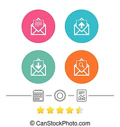 Mail envelope icons. Message document symbols. - Mail...