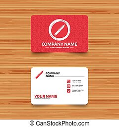 Knife sign icon. Edged weapons symbol. - Business card...