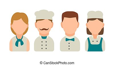 Set icon character cook. Waiter, chef, waitress,