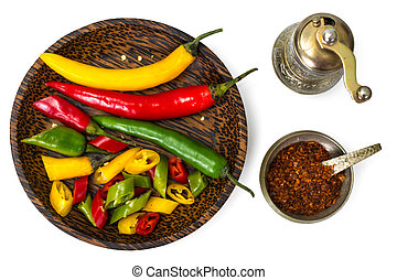 Colorful mix of the freshest and hottest chili peppers....