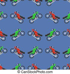 Red Green Sport Bike Seamless Pattern on Blue Background