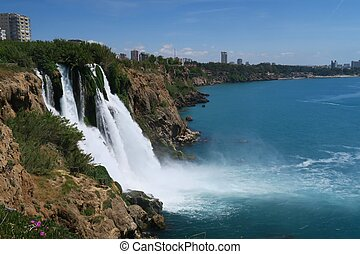 Duden Waterfall as seen from the Cliffs of Antalya - Turkey...