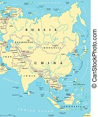Asia political map with capitals, national borders, rivers...