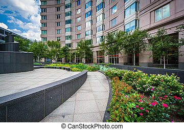 Gardens at the Prudential Center Plaza, in Back Bay, Boston,...
