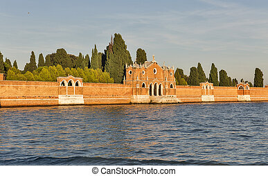 San Michele cemetery at sunset in Venice, Italy. - Venice...