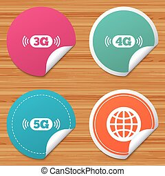 Mobile telecommunications icons. 3G, 4G and 5G. - Round...