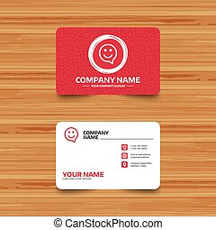 Happy face speech bubble symbol. Smile icon. - Business card...