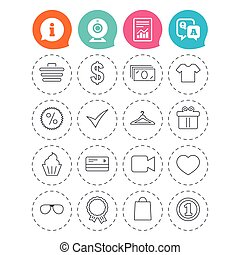 Shopping icons. Shirt, gift box and currency. - Shopping...