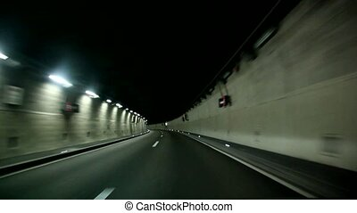 Car Trip In Tunnel
