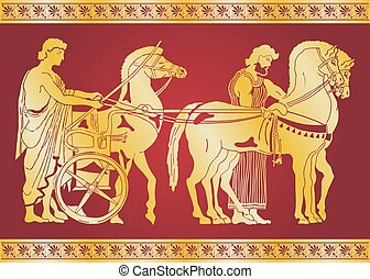 Vector Greek drawing. - Greek style drawing. Warriors in...