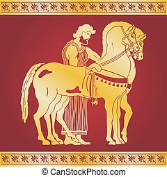 Vector Greek drawing. - Greek style drawing. Warrior in...