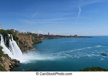 Panoramaview of Duden Waterfall and Lara Beach in Turkey -...